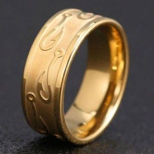 ~ (8) Gold Fish Hook Etched Band ~